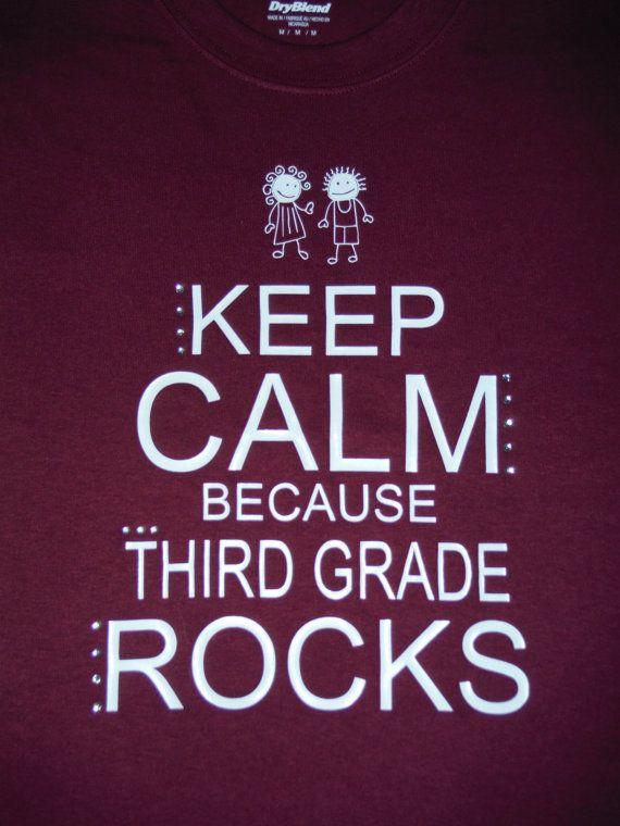 KEEP CALM because Third Grade Rocks Teacher by FROGgyStitches, $20.00