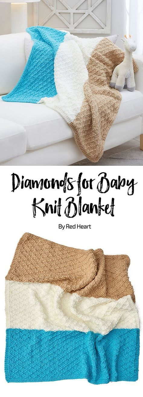 Diamonds for Baby Knit Blanket free knit pattern in Super ...