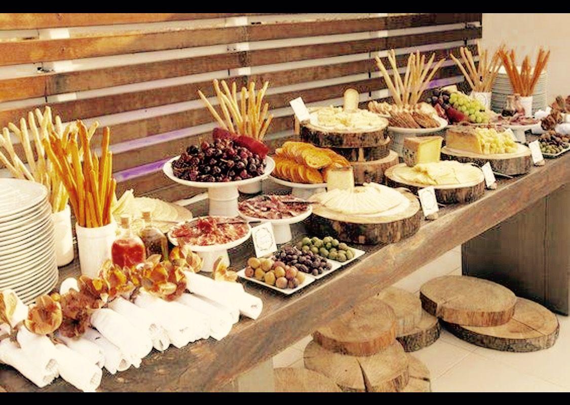 Wood Slices Used To Display Food Wedding Food Table Wedding