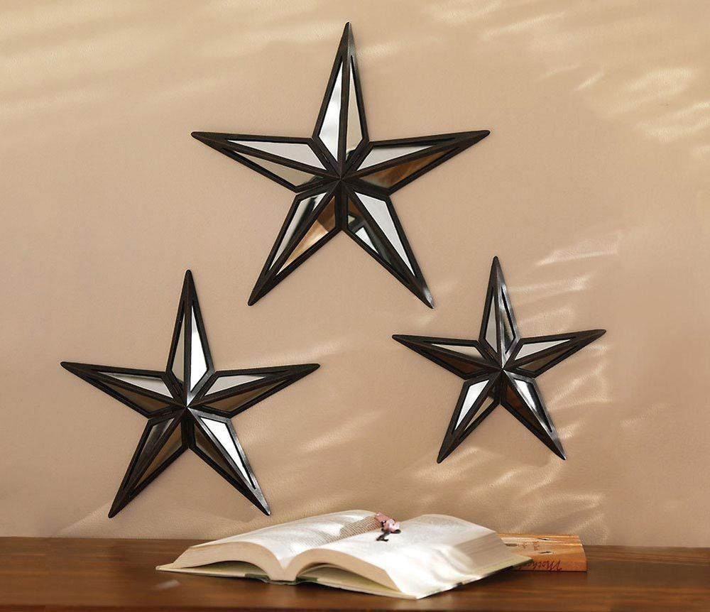 Set Of 3 Mirrored Barn Stars W Bronze Finish Metal Home And Wall Decor
