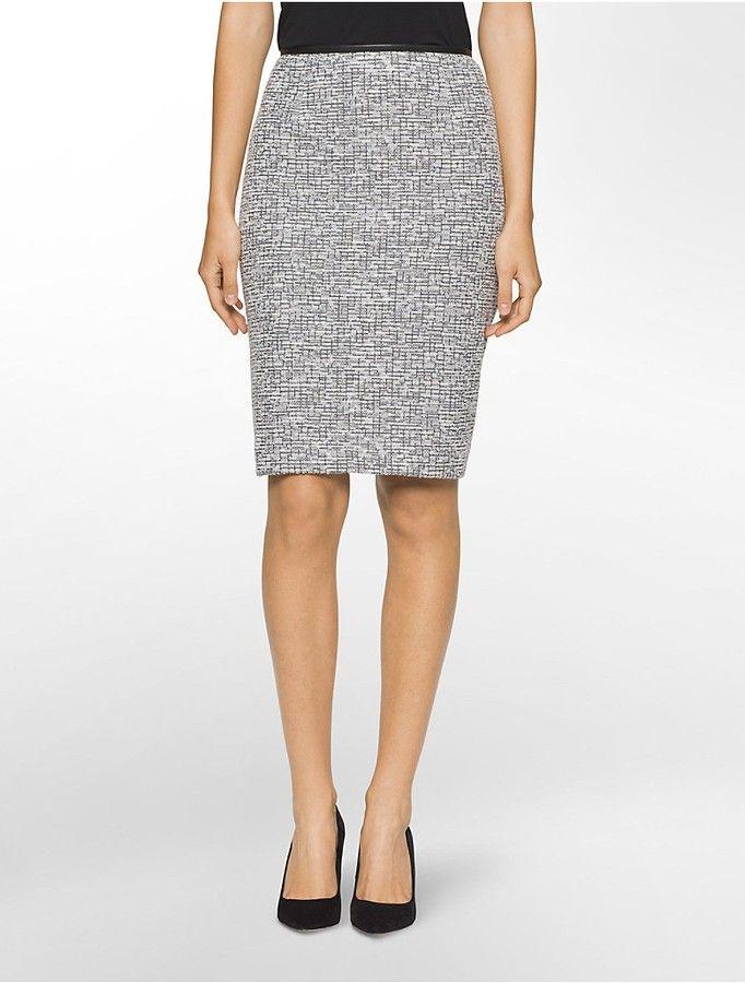 d9f93146b3 Boucle Faux Leather Suit Skirt | Women's Suits | Business attire ...