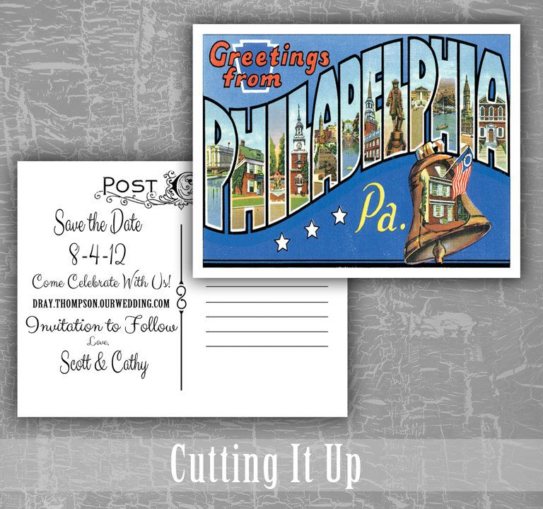 Philadelphia Save the Date Postcard / Greetings From