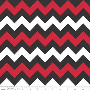 Riley Blake Designs - Chevron - Medium Chevron in Red and Black ...