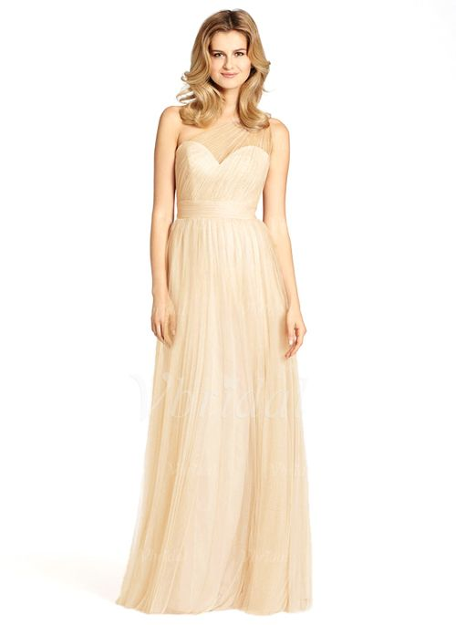 Bridesmaid Dresses - $118.07 - A-Line/Princess One-Shoulder Floor-Length Tulle Bridesmaid Dress With Ruffle (0075058670)