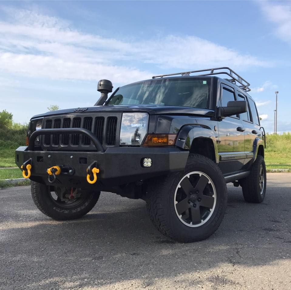Wam bumpers jeep commander ver 2 winch style bumper with squadron wam bumpers jeep commander ver 2 winch style bumper with squadron sport lights shackle mounts 2 dom intermediate a style grill guard in primer with black aloadofball Images