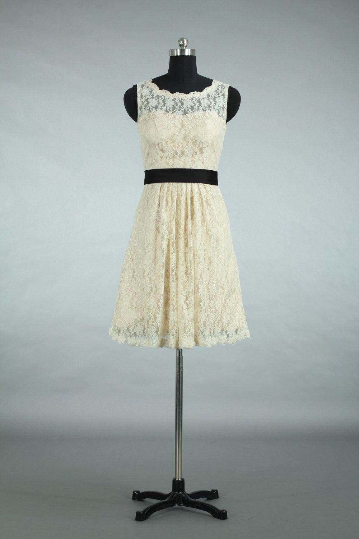Straps scoop neck short lace bridesmaid dress cheap lace bridesmaid