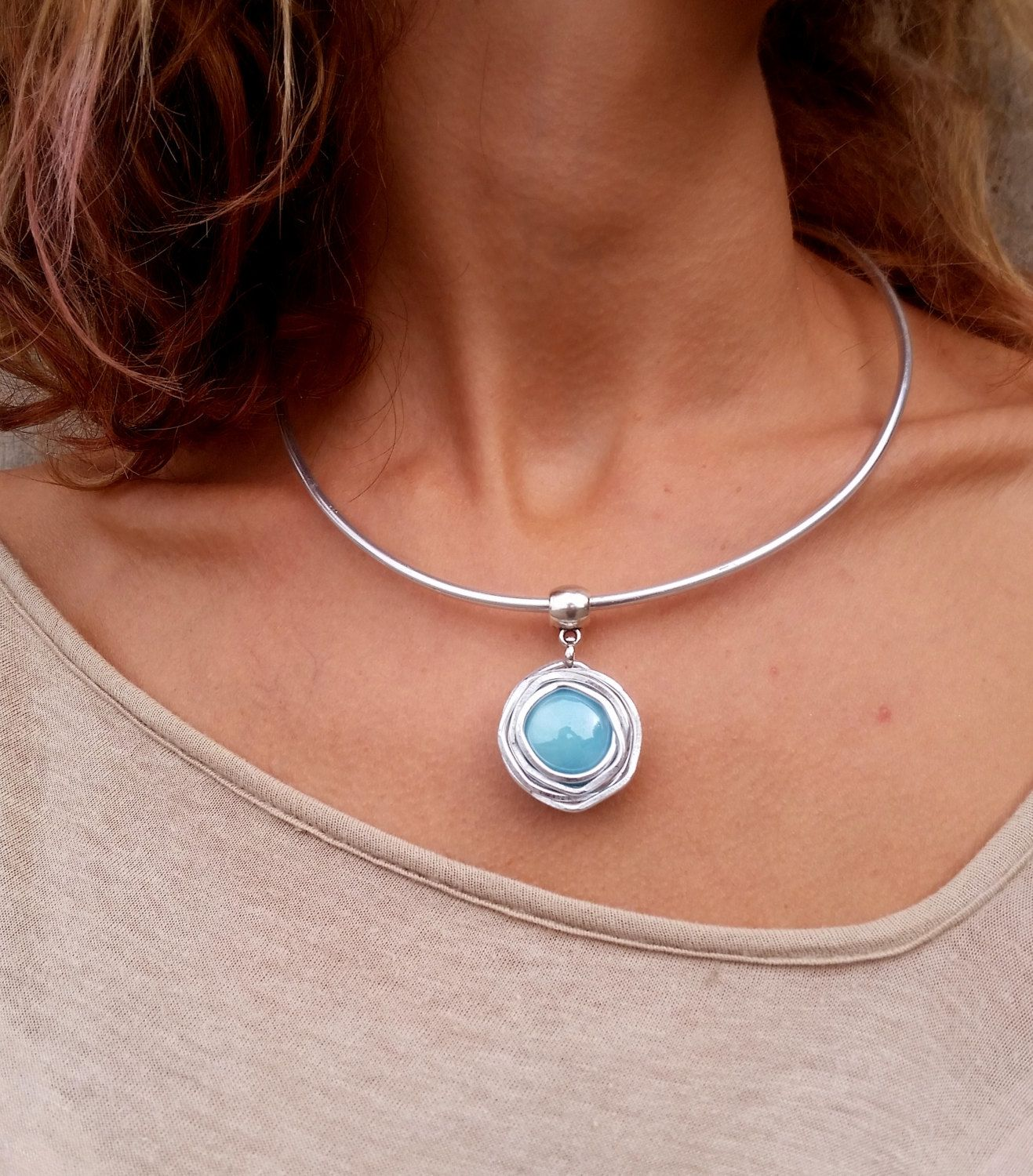Cuff silver necklace turquoise pendant necklace statement necklace