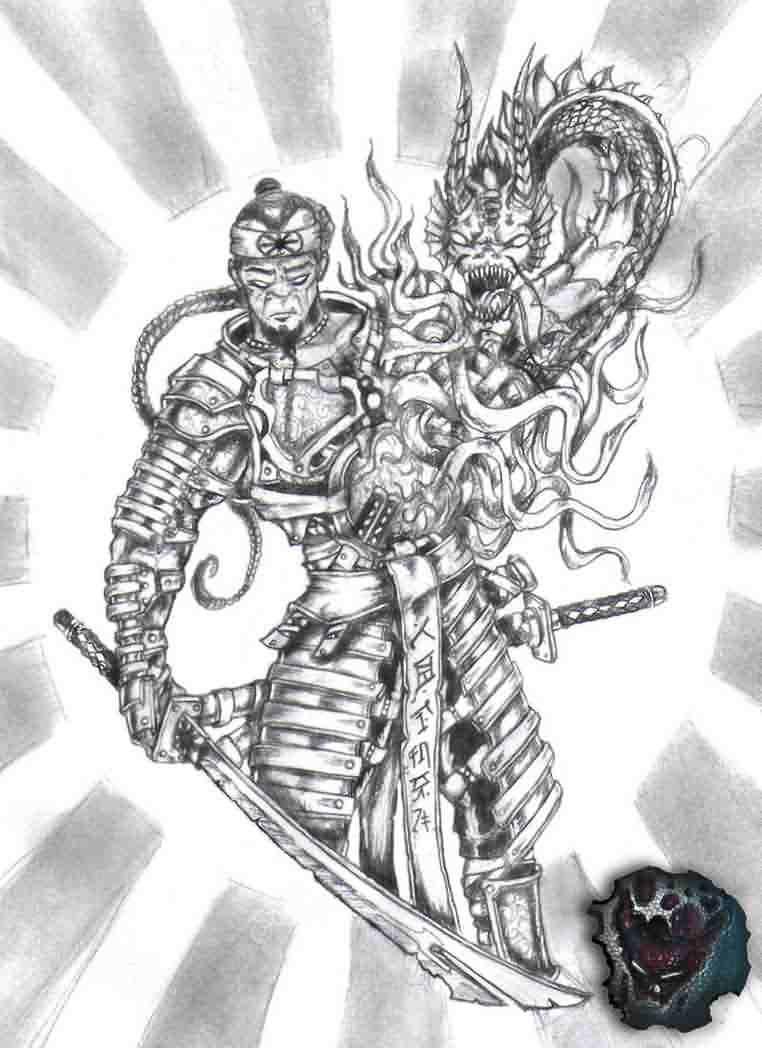 Dragon And Samurai Fighting Tattoo Design Nan Tattoo