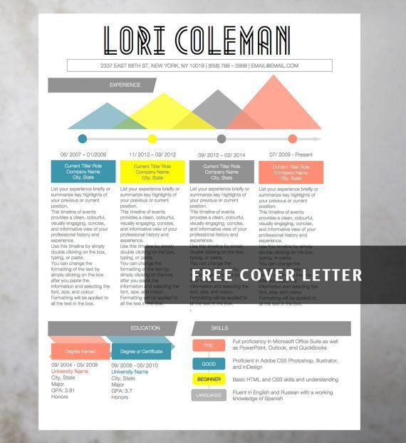Modern Resume Word Template - Lori Coleman - Instant Download - Free ...