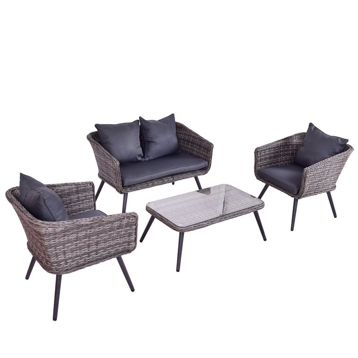 Costway pcs grey rattan wicker furniture set loveseat sofa
