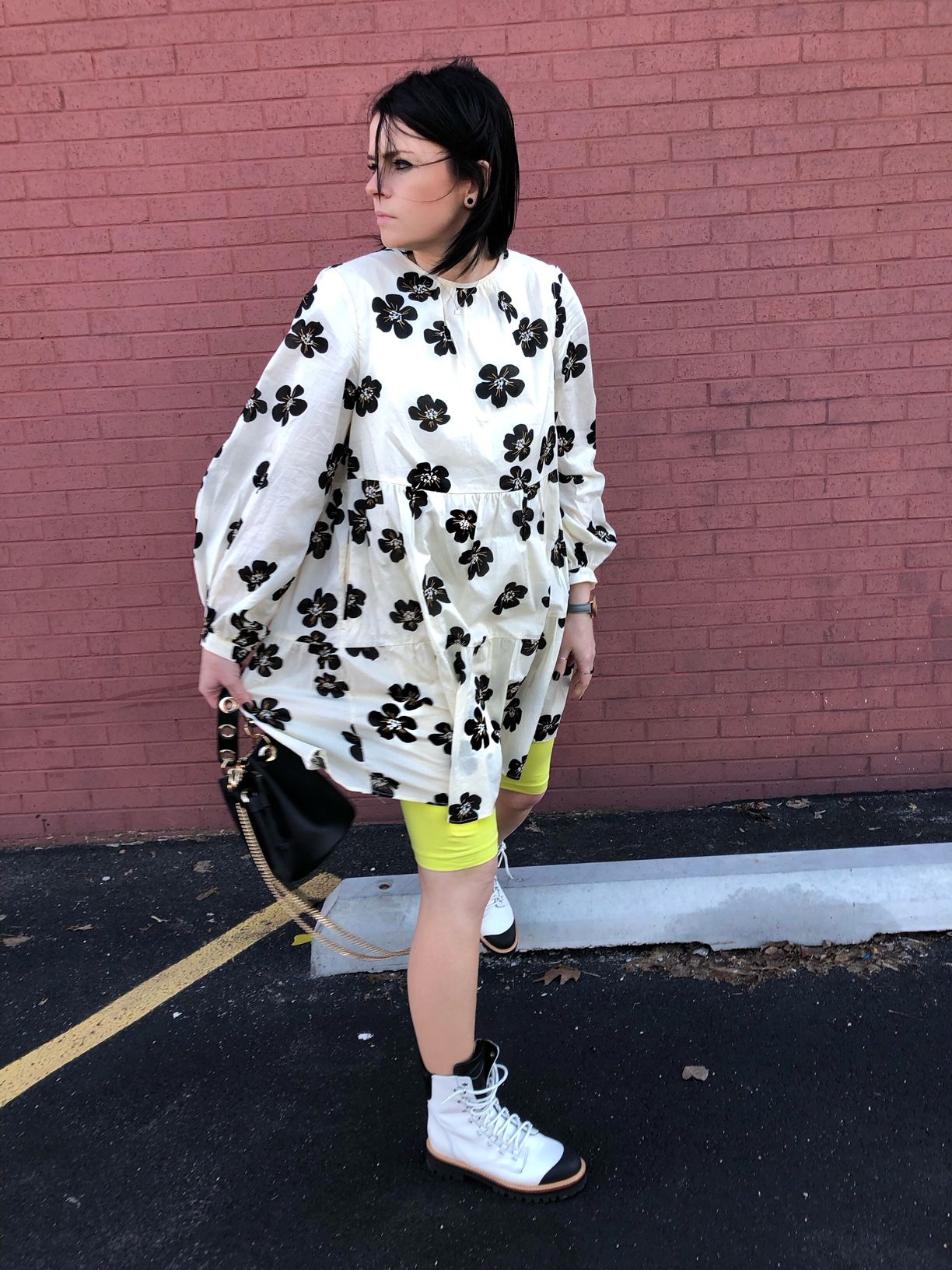 The Floral Dress You Need Right Now Some Pop Of Color White Dress Summer White Long Sleeve Dress How To Style Combat Boots [ 1632 x 1224 Pixel ]