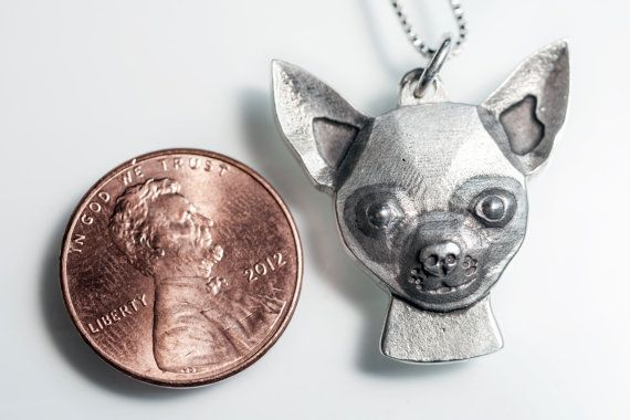 Chihuahua Necklace Jewelry Sterling Silver by rockmyworldinc $139.99