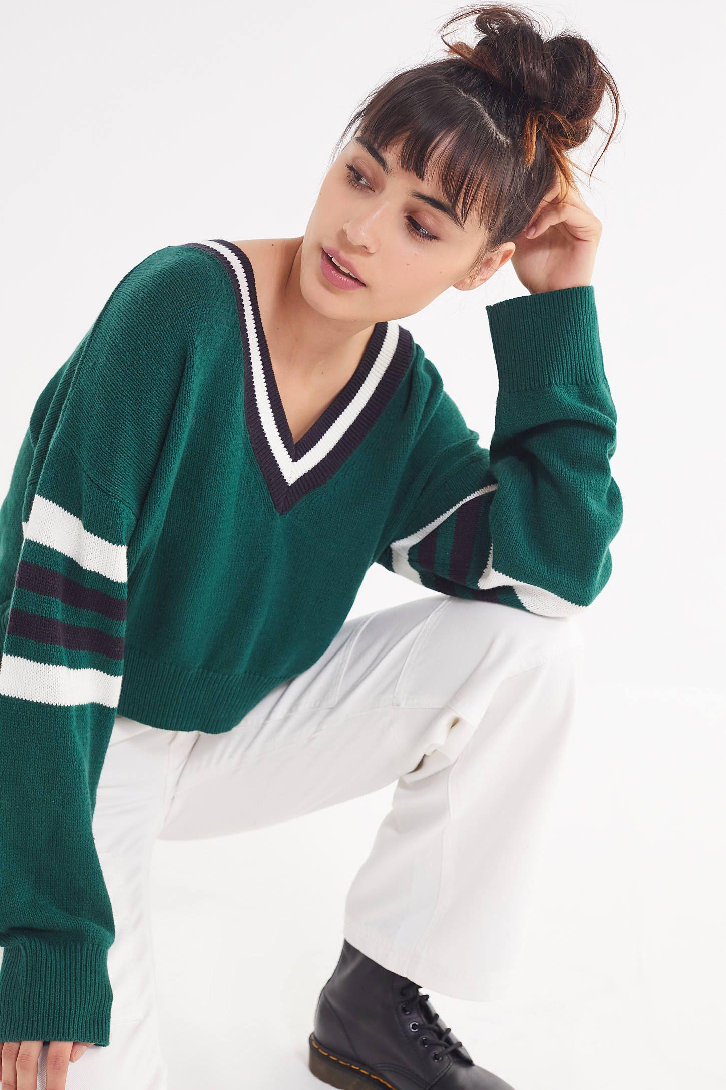 Uo Kristen V Neck Varsity Sweater Varsity Sweater Cardigans For Women Extra Long Sleeves