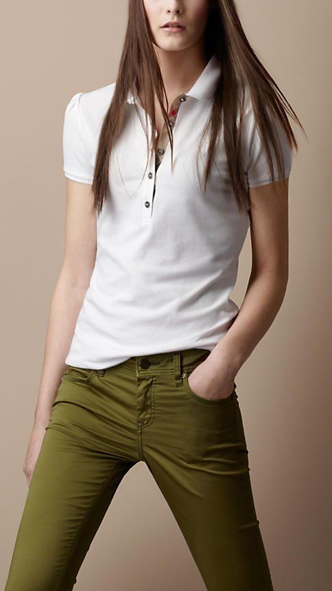 993cd9722127c Camisas Pólo · Moda Feminina · Burberry - CHECK PLACKET POLO SHIRT brit  Camisa Polo Para Mulheres, Camisas De T Para