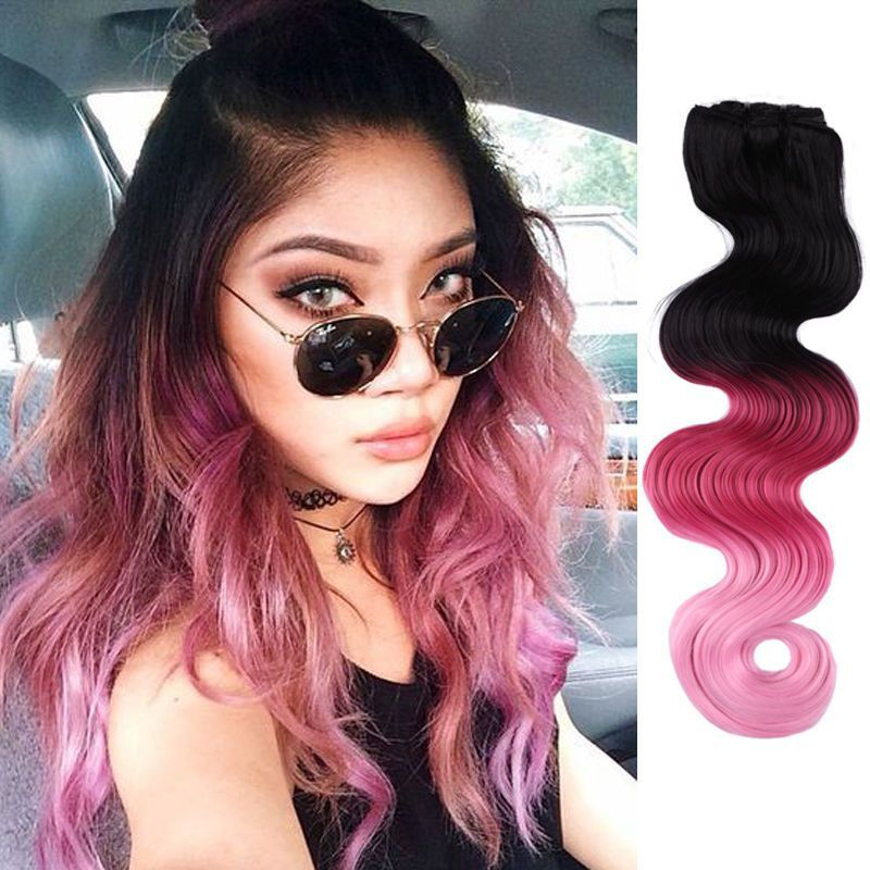 Ombre Natual Black To Light Pink Clip In Hair Extensions Colorful