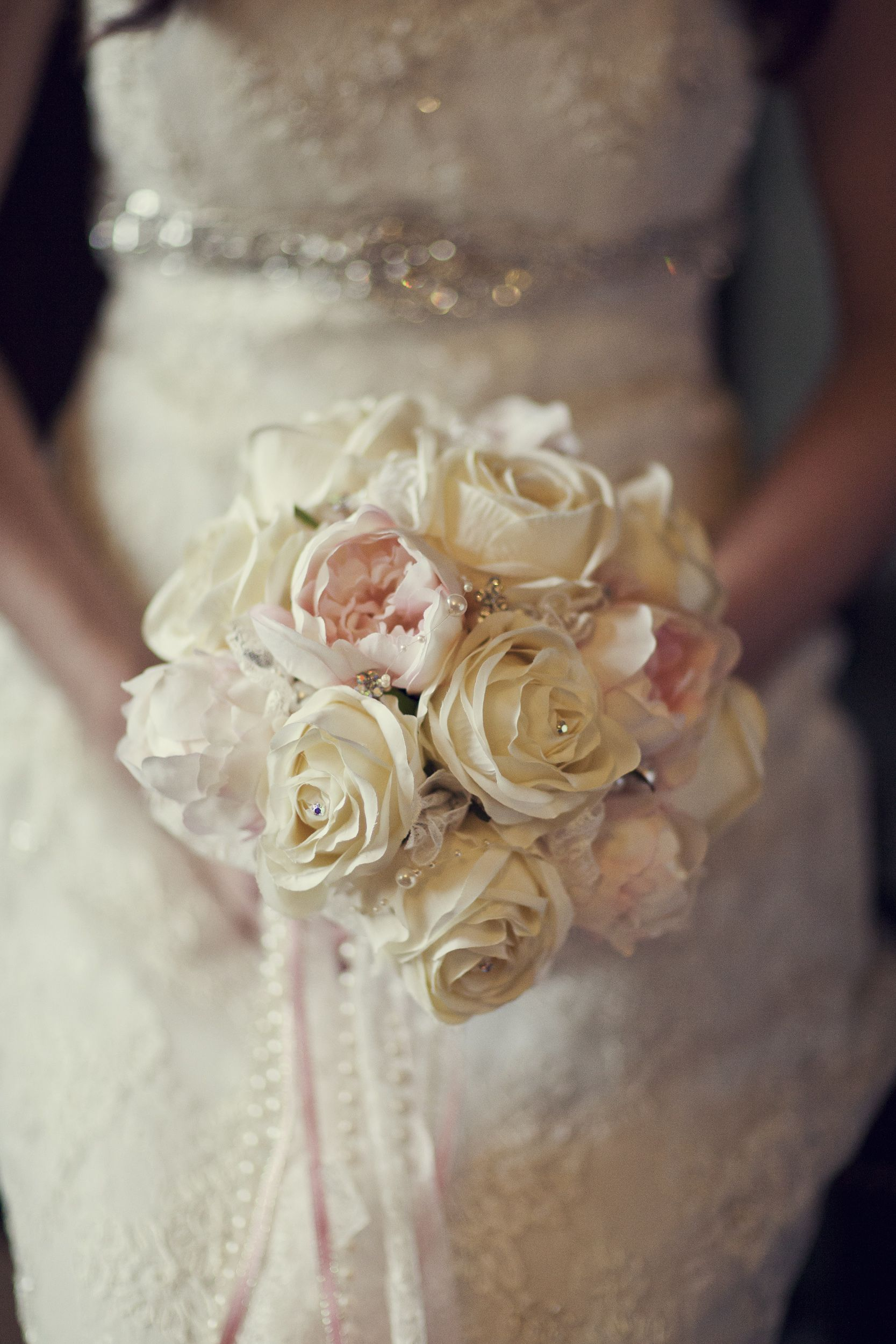 Ivory and blush pink silk bouquet of roses and peonies with ribbon romantic wedding flowers ivory and blush pink silk bouquet of roses and peonies with ribbon and pearl trails izmirmasajfo
