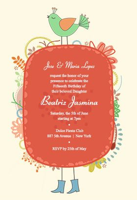 Quinceanera Peacock Printable Invitation Customize Add Text And