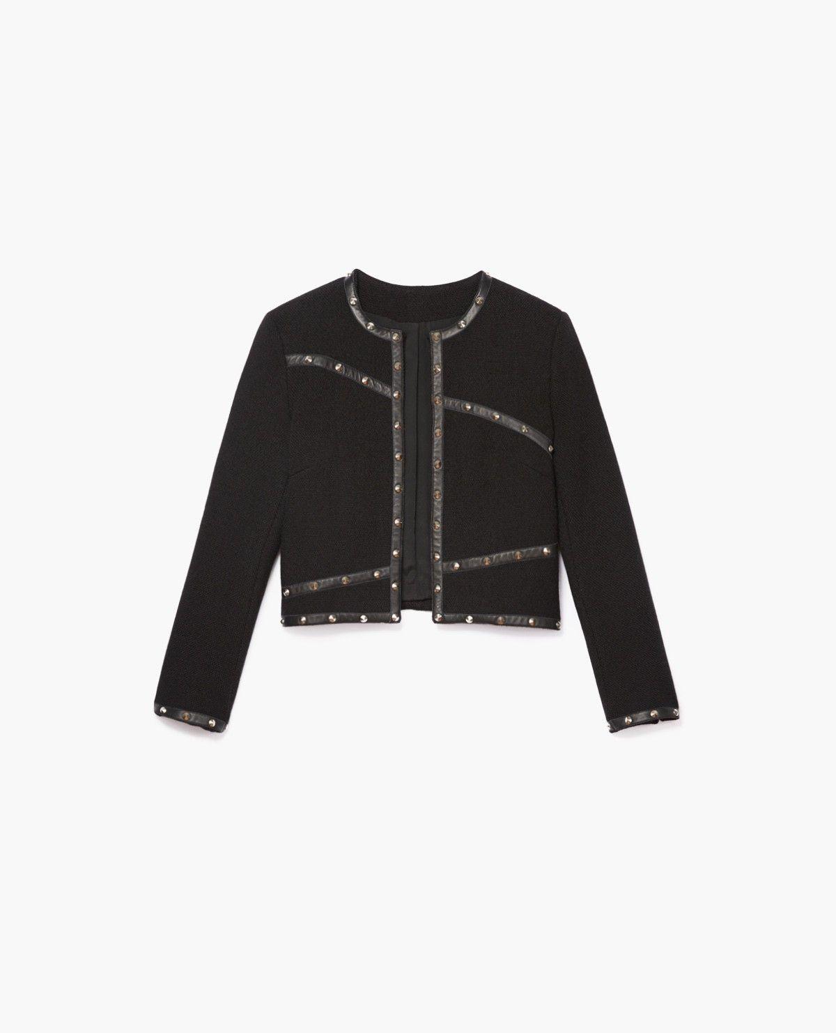 nouveau produit 165fb f4a2e Veste courte en laine nattée à détails cuir clouté - Vestes ...