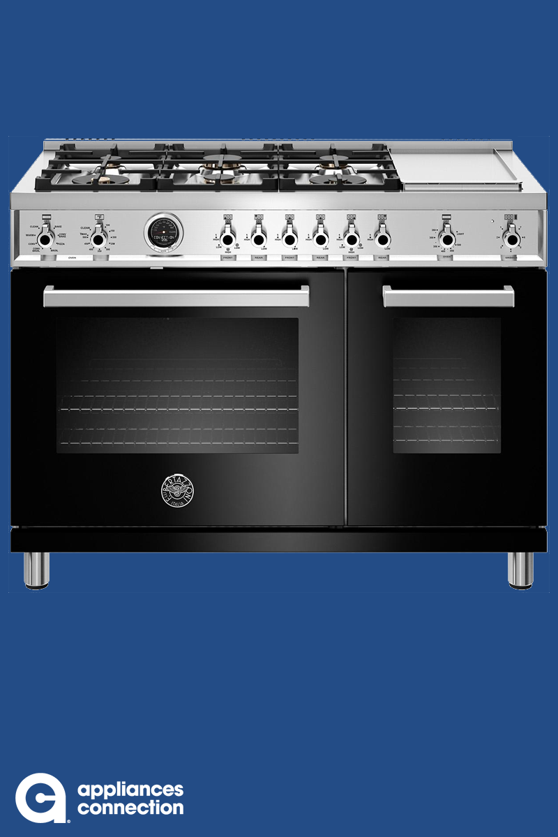 Bertazzoni Professional Series 48 Inch Freestanding Dual Fuel Range With 6 Burners Sealed Cooktop Double Ovens 4 6 Cu Double Oven Oven Cooktop Oven Cleaning