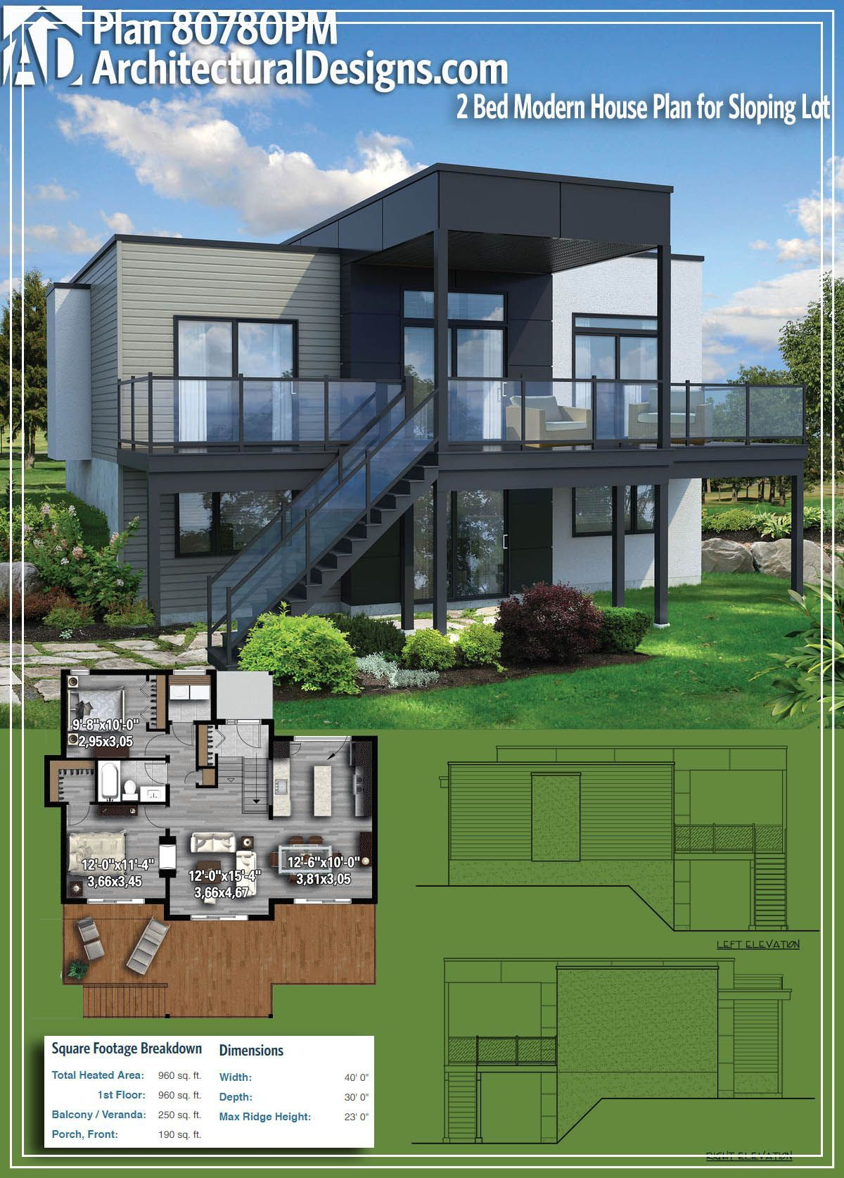 Https Upscaleexistence Blogspot Com Architectural Designs Modern House Plan 80780pm Gives You 2 Beds 1 Bat Modern House Plan House Plans Modern House Plans