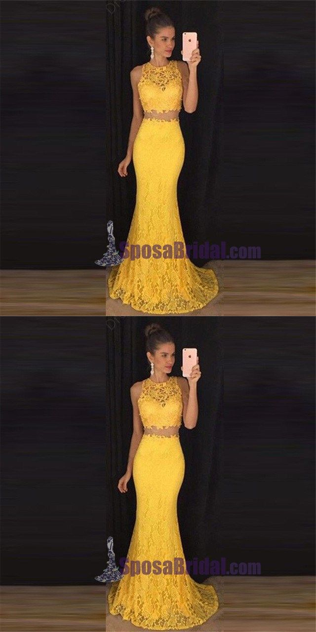 Two pieces yellow lace evening prom dresses long prom dress