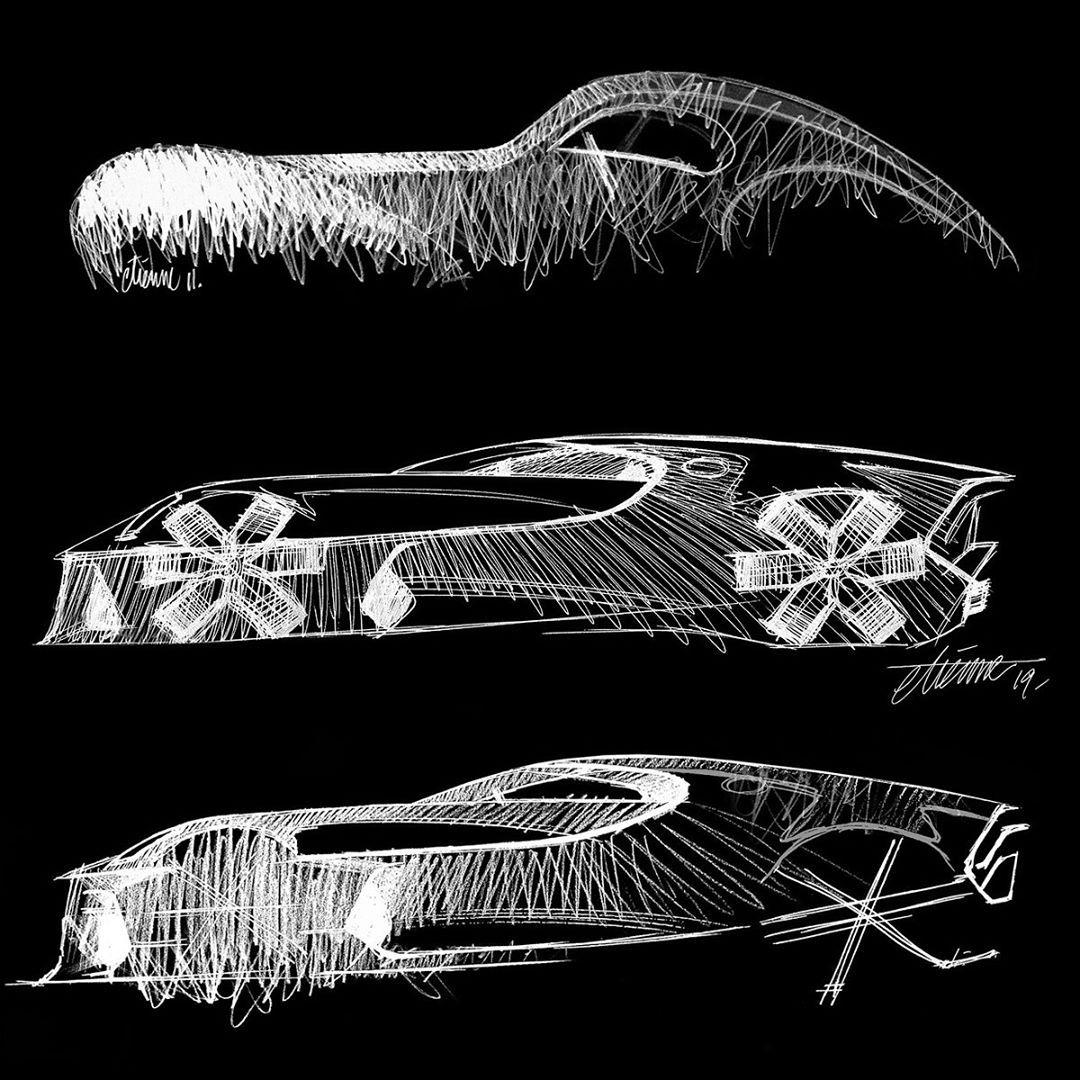 2019 Bugatti La Voiture Noire Sketches By @etienne_gallery