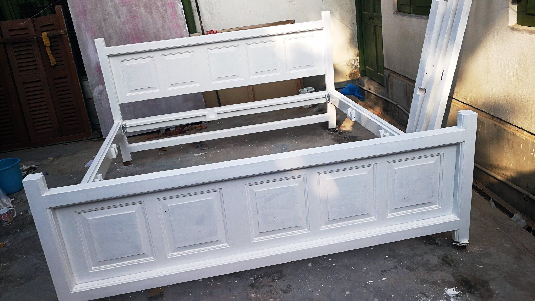 Bed From Repurposed Teak Wood Door With French Finish In