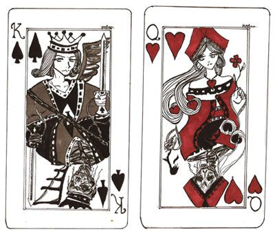 These A King Of Spade Card And Queen Hearts Tattoo Tattoos