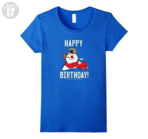 Women's Frosty The Snowman Happy Birthday Large Royal Blue