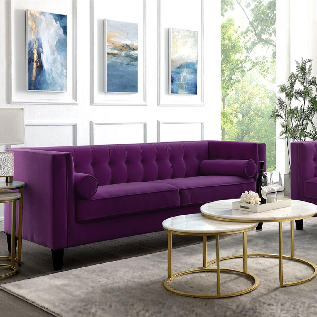 Lotte Velvet Sofa Couches Living Room Tufted Couch Living Room Velvet Sofa Living Room #purple #couches #living #room