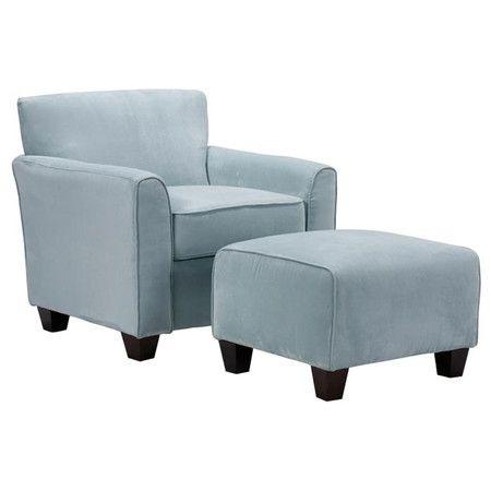 2 Piece Livingston Arm Chair Ottoman Set Blue Accent Chairs Chair And Ottoman Chair And Ottoman Set