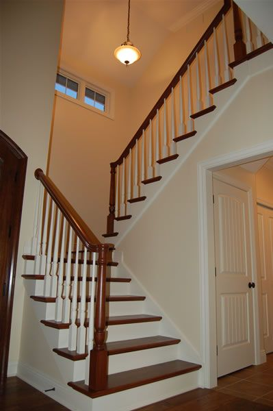 White Staircase With Oak Handrail And Treads In Ramelton