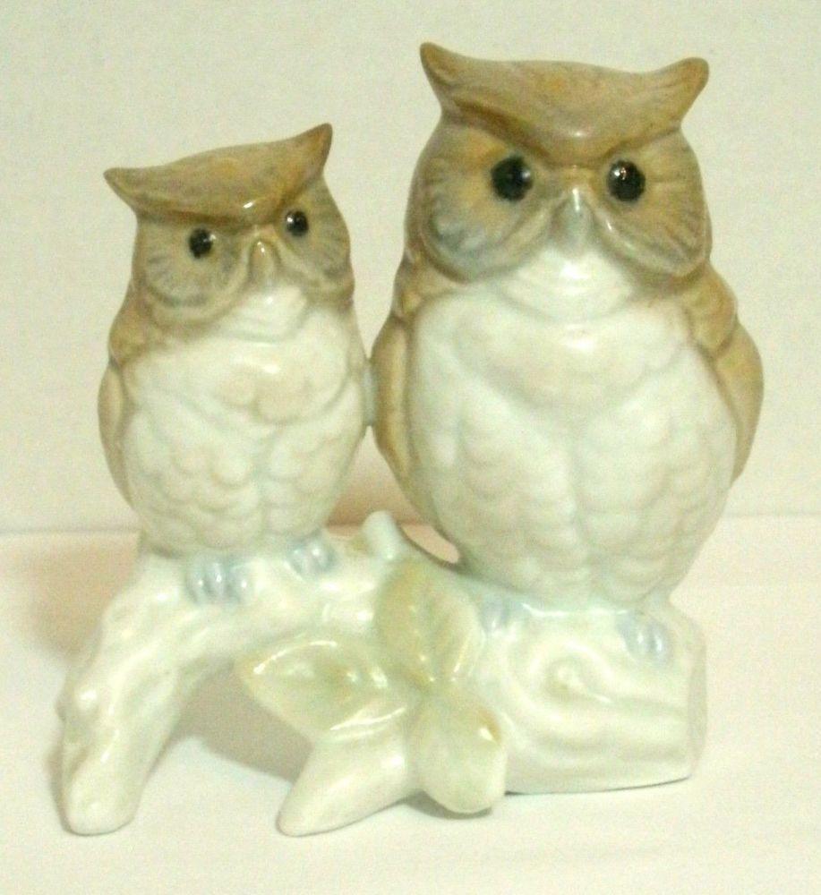 Otagiri Owl Figurine 2 Owls On Branch Porcelain Mother Baby Japan Vintage Otagiri Vintage Owl Owl Vintage