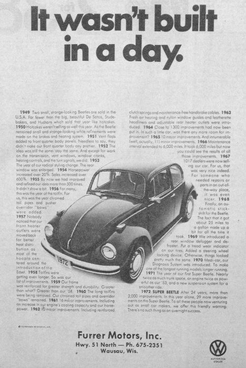 Oct  25, 1971 - Furrer Motors, Inc  Volkswagen advertisement for the