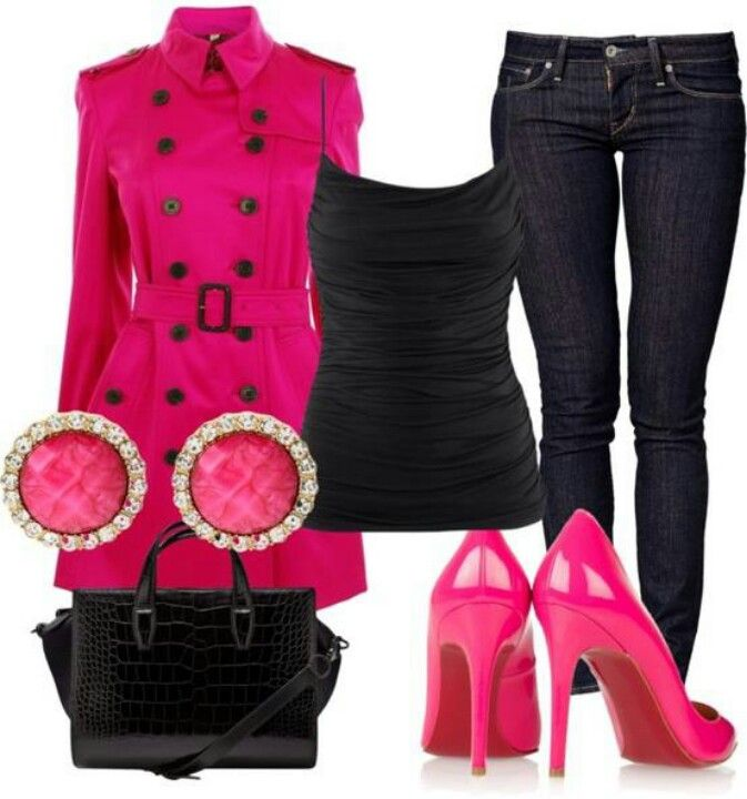 Hot pink pumps & trench!