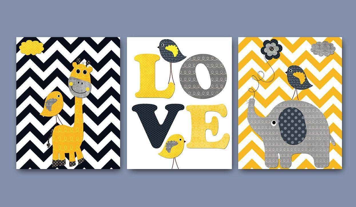 Yellow and gray giraffe elephant canvas art love nursery wall art
