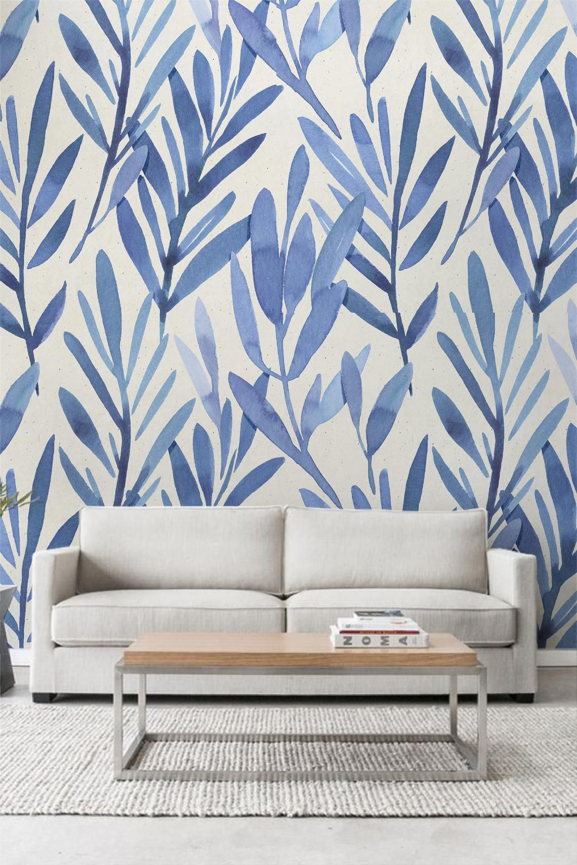 Wall mural with blue watercolor leaves, Temporary wall
