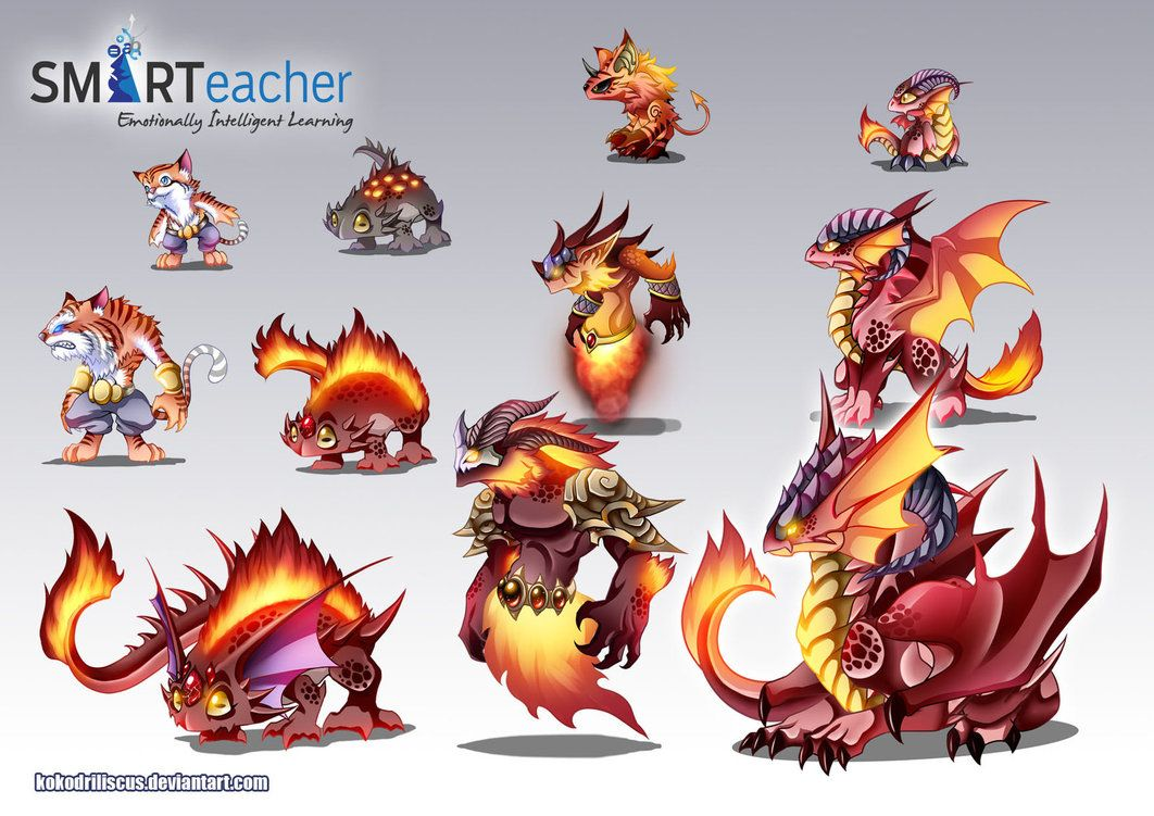 prodigy fire monsters by dragolisco creature concepts