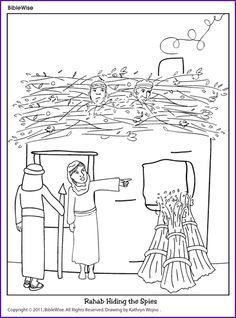 Rahab And Spies Coloring Sheet With Images Sunday School