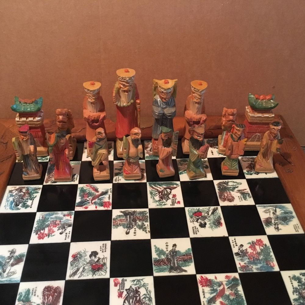 Antique Vintage Chinese Chess Board