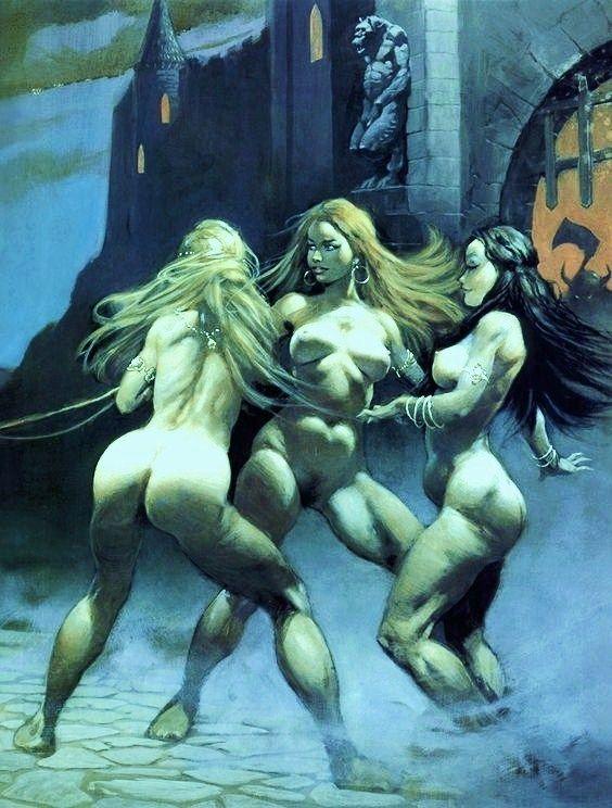 FRANK FRAZETTA - Three Witch's Nude Three Witches, Frank Frazetta, Female  Art, February