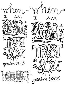 doodle verse psalm 563 - Psalm 56 3 Coloring Page