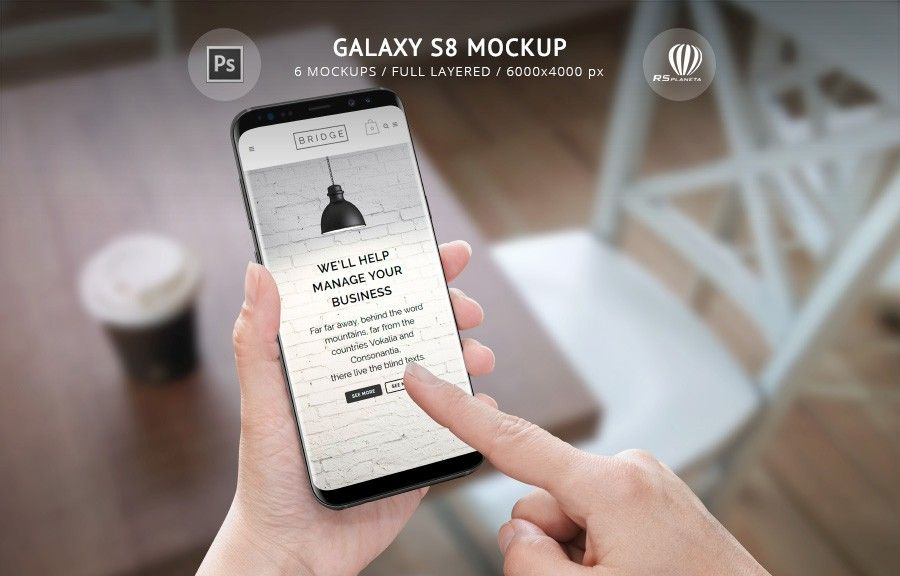 Galaxy S8 Mockup Psd File Is Created For Promoting Your Android Apps Responsive Website Design Creating Banners And Advertising Material Creative Photos And