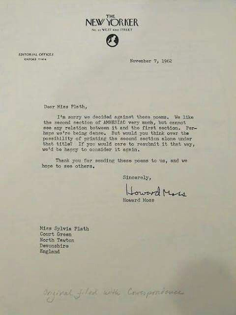 Pin by My Info on Sylvia Plath Pinterest - rejection letter sample