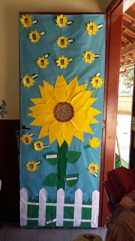 Porta de sala tema primavera primavera pinterest de for Puertas decoradas primavera