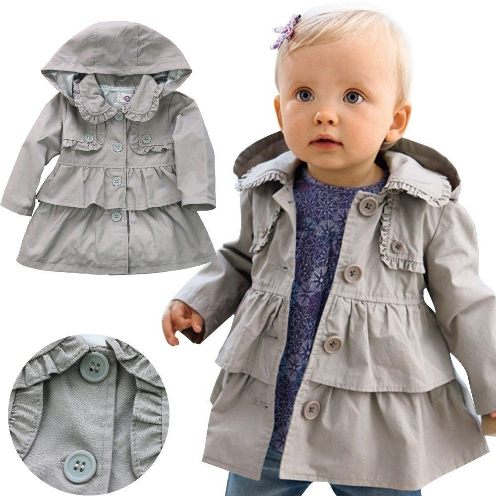 Toddler Baby Girls Fall Winter Trench Coat Wind Jacket Kids Windbreaker Cardigan Outerwear