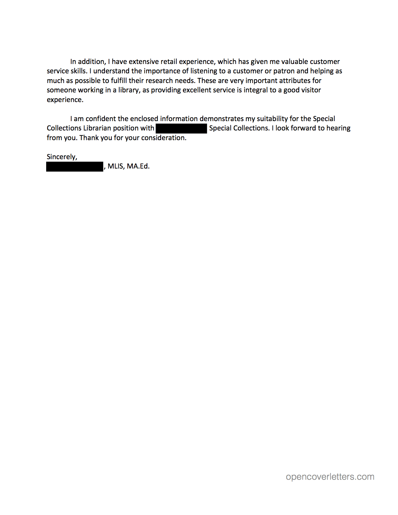 Cover Letter Sample Letters Open Anonymous Example Samples For