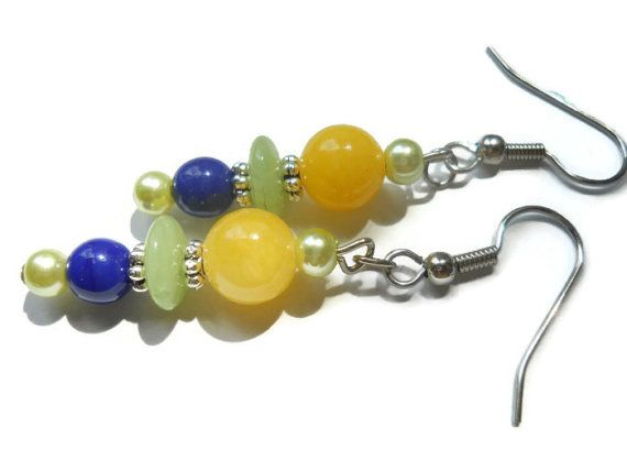 Bohemian Earrings Yellow Pearl Earrings Yellow par chicagolandia, $20.00