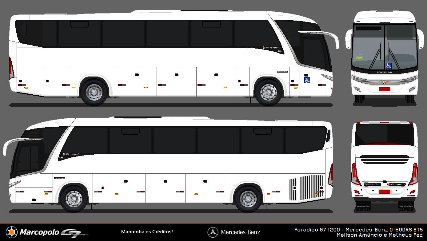 desenhos de Ônibus em branco marcopolo paradiso g7 1200 e 1800 dd