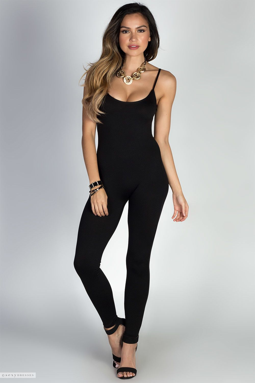 211b8b3a3ba9 Jersey Bodycon Scoop Neck Black Strappy Catsuit Bodysuit
